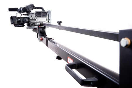 digital video camera recorder on black tv crane
