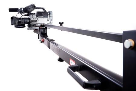 film making: digital video camera recorder on black tv crane