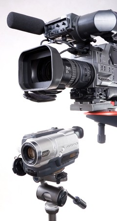 dv-cam camcorder and home video camera with white background Stock Photo - 4035279