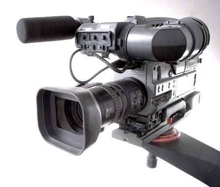 black dv-cam camera recorder on tv crane Stock Photo