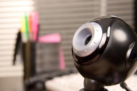 close-up di vista nero web fotocamera in ofice Archivio Fotografico