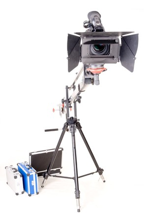 high definition camcorder on studio mechanic handly crane Stock Photo