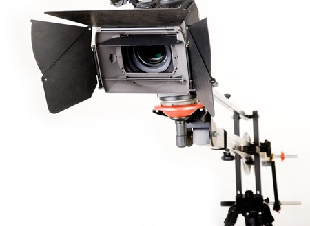 high definition: isolated high definition camcorder on handly studio crane