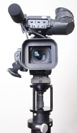 frontal view: stand dv-cam camcorder in studio frontal view