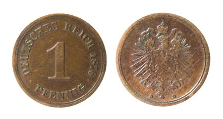 germanic: two sides of old germanic 1 pfennig coin of 1876