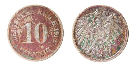 germanic: two sides of old germanic 10 pfennig coin of 1912 Stock Photo