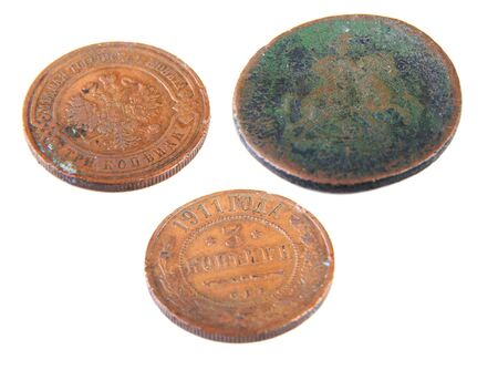 historical periods: three old russian copecks from different historical periods Stock Photo