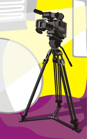 Ilustración de arte del camcorder de tv sobre trípode en estudio  Ilustración de vector