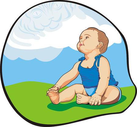 Ilustración de arte de pequeño bebé looking up las nubes como un tigre azul grande