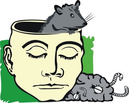 art illustration of human with rat in empty head and carrion brain out of head Vector