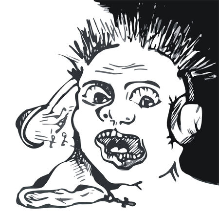 black and white art illustration of man with liquid ear in headphones with crazy music