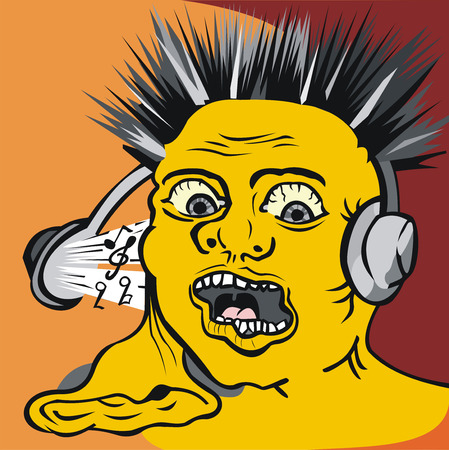 art illustration of man with liquid ear in headphones with crazy music