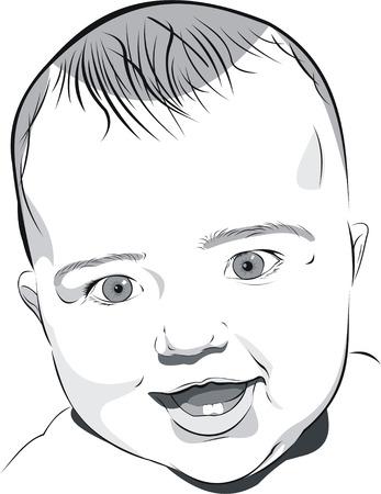 el retrato de ilustración de arte blanco y negro de bebé de seis meses smiley