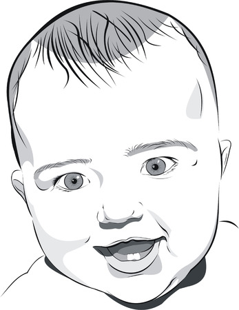 the black and white art illustration portrait of six-month smiley baby