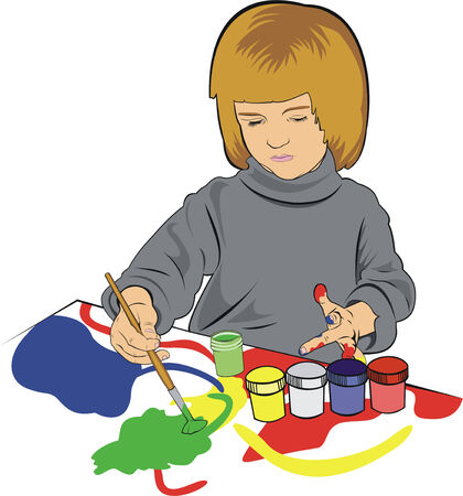 small girl painting with gouache Stock Vector - 7956943
