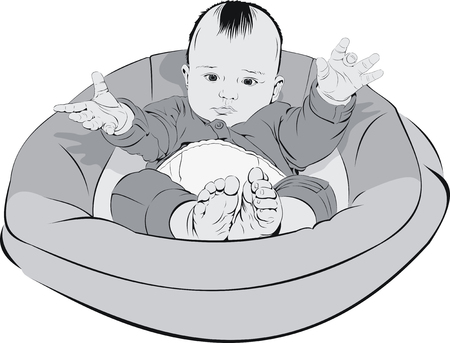 baby in cradle Vector