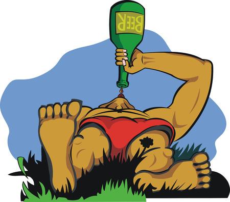 alcoholist: een man drinken bier Stock Illustratie