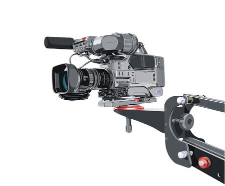 movie camera: dv-cam camcorder on crane