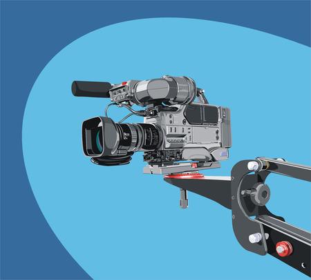 movie film: dv-cam camcorder on crane