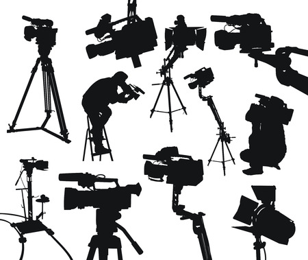 camcorders and cameramen on white background