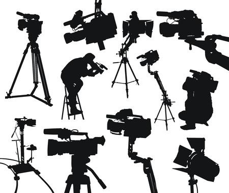 videocamere e cameraman su sfondo bianco