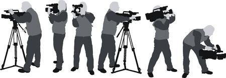 omroep: cameramannen silhouttes Stock Illustratie