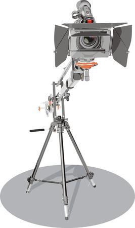 hd camcorder on crane in studio Illustration