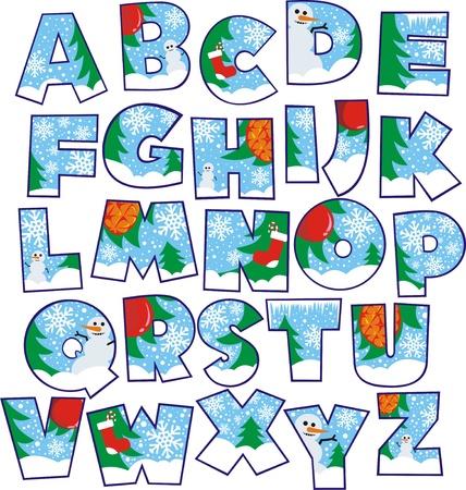 alphabet: Weihnachten Alphabet Illustration