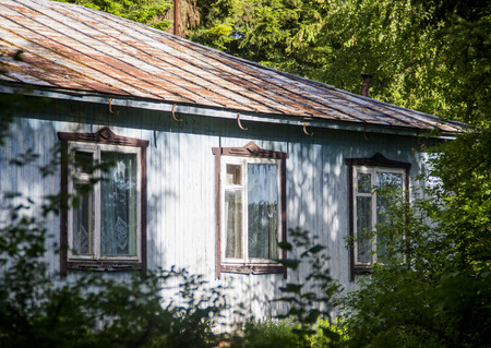 the abandoned house at wooden house in forest Stock Photo