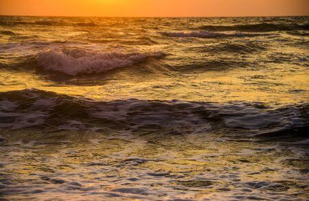 no movement: close-up sea waves at morning time Stock Photo