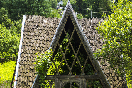 wooden roof of the unfinished abandoned house Stock Photo
