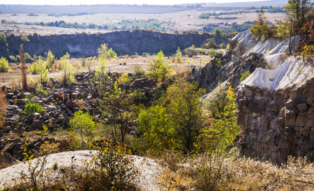 wide view of unused stone quarry in Arbuzinskiy Canyon, Nikolaev region, Ukraine Stock Photo