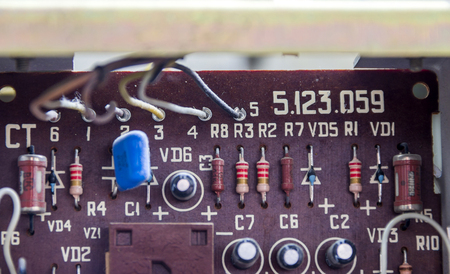 electronic board: close-up electronic board of old tape recorder Stock Photo