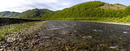 Striy river in the Carpathian national park Skolevski beskidy, Lviv region of Western Ukraine
