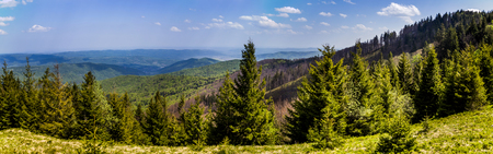 the panoramic view of landscape of the carpathian mountains, national park Skolevski beskidy, Lviv region of Western Ukraine