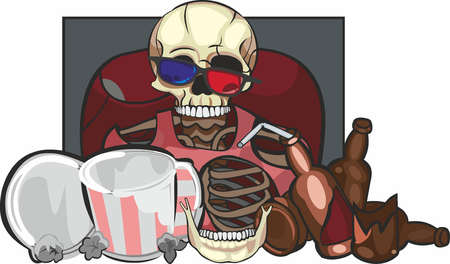 art illustration of skeleton in 3d glasses with beer and empty popcorn boxes sitting at cinema theatre