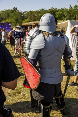 DNIPRO, UKRAINE - SEPTEMBER 9, 2017: members of a medieval knights tournament as part of historical festival Samar Dnipro Fest