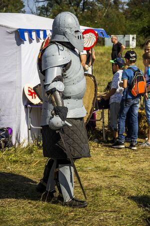 DNIPRO, UKRAINE - SEPTEMBER 9, 2017: member of a medieval knights tournament as part of historical festival Samar Dnipro Fest