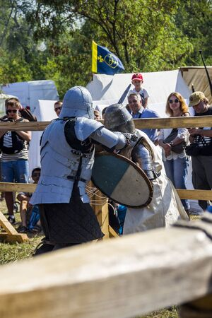 DNIPRO, UKRAINE - SEPTEMBER 9, 2017: a medieval knights tournament as part of historical festival Samar Dnipro Fest