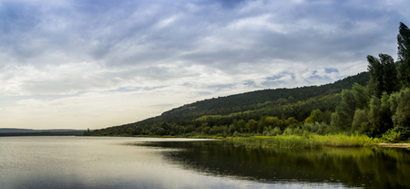 A Bakota bay (Dnistrovske reservoir) landscape at rainy weather, Dnister river, Podilski tovtry National park, Khmelnitskiy region of Western Ukraine