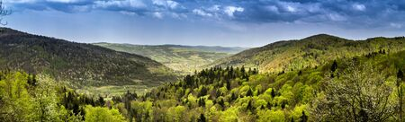 the panoramic view of landscape of the carpathian mountains and aerial view of village Krushelnitca, national park Skolivski beskidy, Lviv region of Western Ukraine
