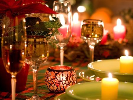 cena de navidad: Ajuste hermoso lugar para Navidad