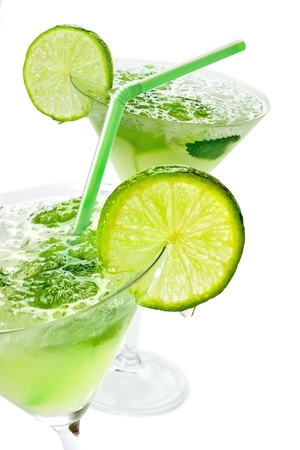 margarita drink: Close up margaritas with lime Stock Photo