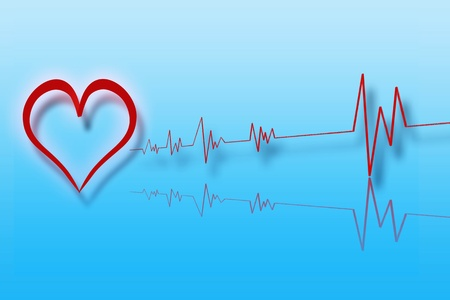 Illustration of heart with cardiology with blue background Stock Illustration - 12850113