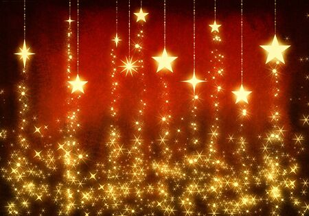 wintriness: Chain gold stars as christmas background Stock Photo