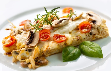 grilled fish: Tasty healthy fish fillet with vegetables and mushrooms Stock Photo