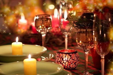 luz de velas: Ajuste hermoso lugar para Navidad