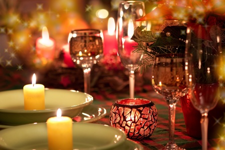 Beautiful place setting for Christmas photo