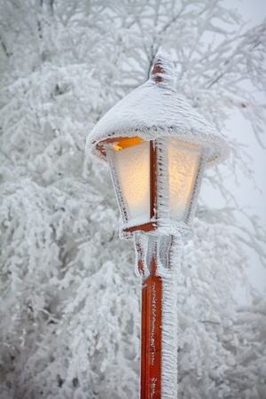 Bright shining snowy street lamp photo