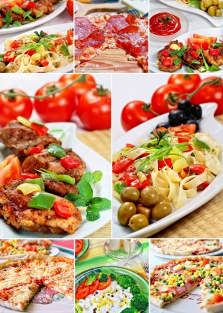 Beautiful collage pastries and pizza  made from eight photographs Stock Photo - 12850368